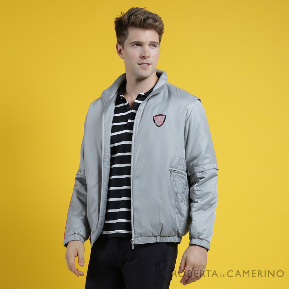 ROBERTA諾貝達 台灣製 輕量保暖 防潑水可拆袖機能夾克外套  灰色