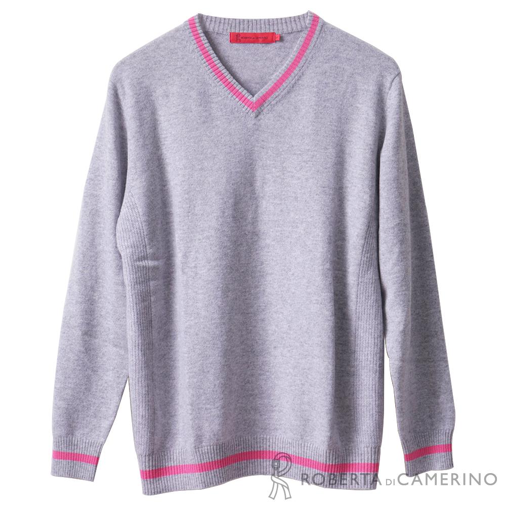 ROBERTA諾貝達 冬日清新 學院風純喀什米爾羊毛毛衣 粉紅
