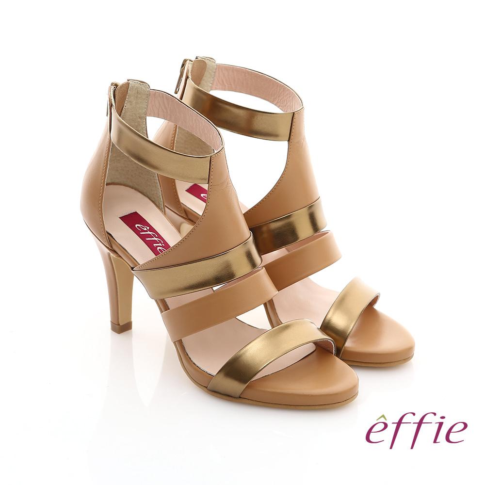 effie 修身美型系列 全真皮雙色拼接金箔露趾高跟鞋(茶)