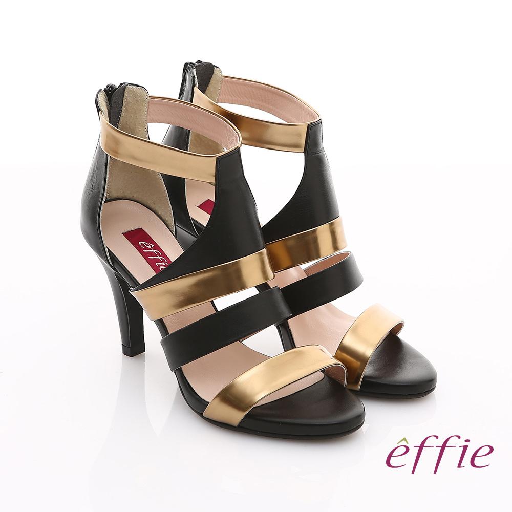 effie 修身美型系列 全真皮雙色拼接金箔露趾高跟鞋(黑色)