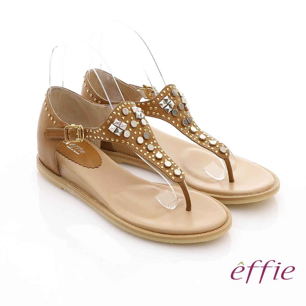 effie 美型夾芯 真皮金屬鉚釘T字涼鞋(土黃)
