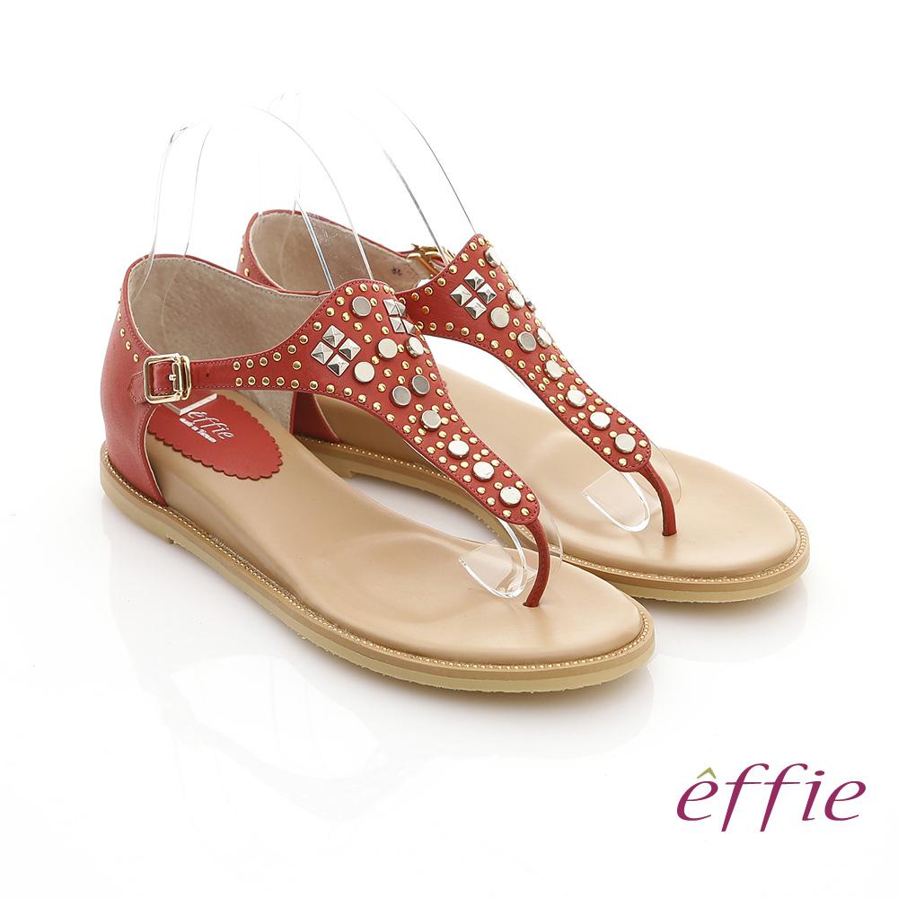 effie 美型夾芯 真皮金屬鉚釘T字涼鞋(紅色)