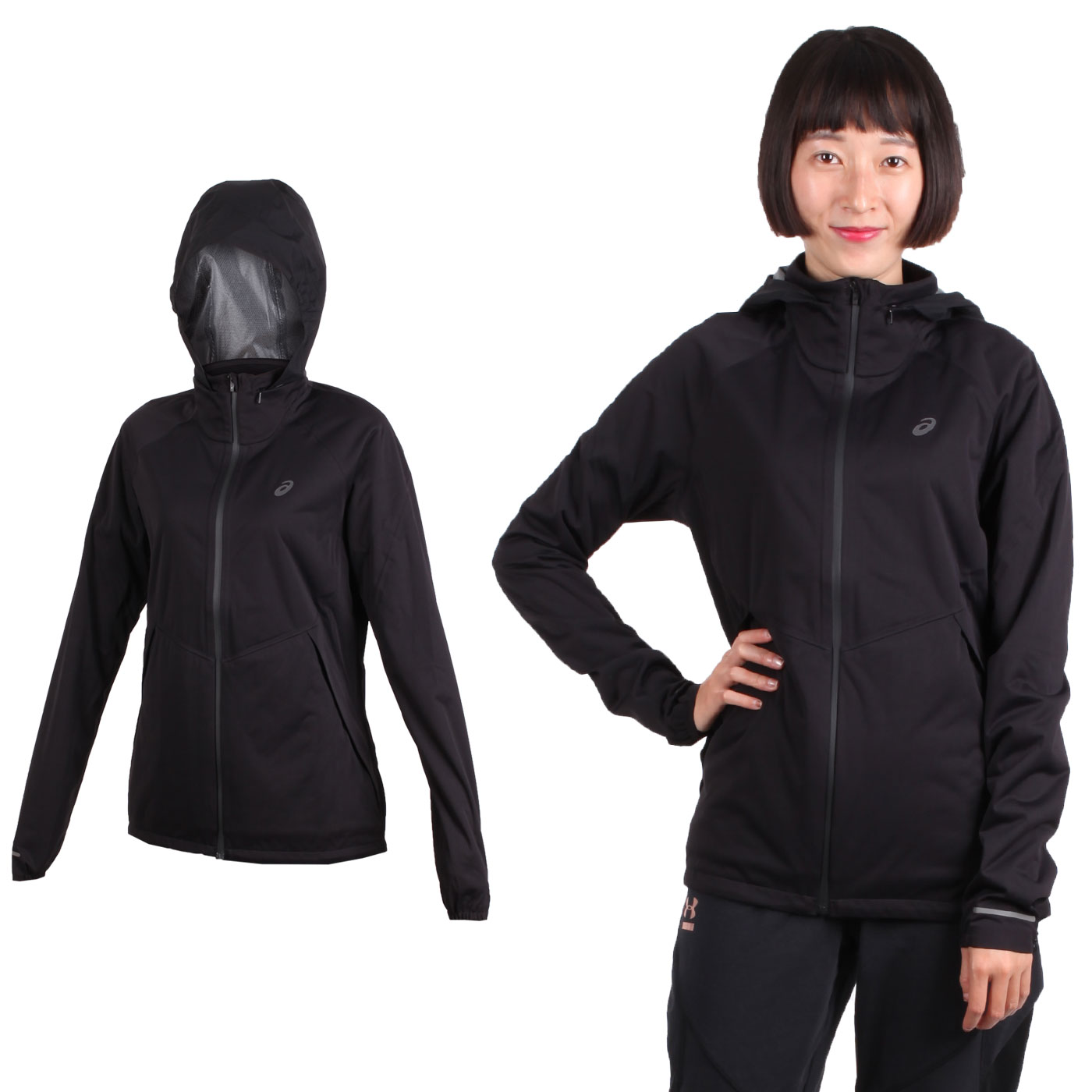 (女) ASICS SYSTEM 保暖外套-連帽外套 立領外套 亞瑟士 黑銀