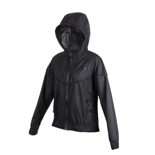 (女) NIKE 運動外套-連帽外套 慢跑 立領外套 黑