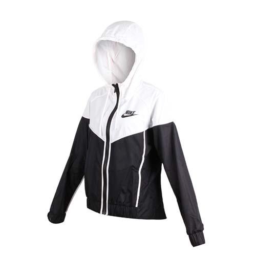(女) NIKE 運動外套-連帽外套 慢跑 立領外套 黑白