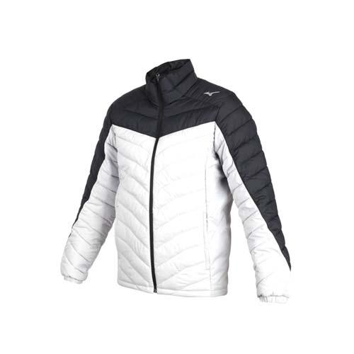 (男) MIZUNO 防潑水保暖外套-立領外套 鋪棉外套 保溫 美津濃 淺灰黑