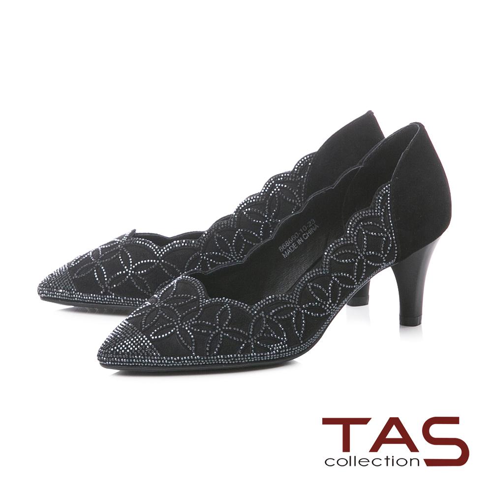 TAS水鑽波浪曲線麂皮尖頭粗跟鞋-典雅黑