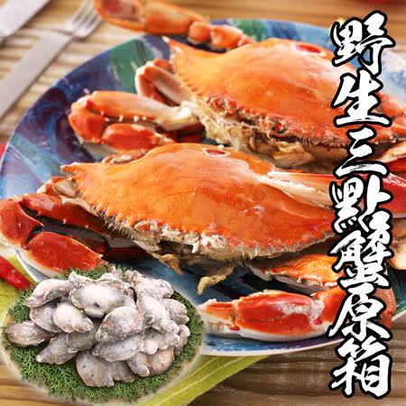 海鮮王 野生三點蟹約30隻