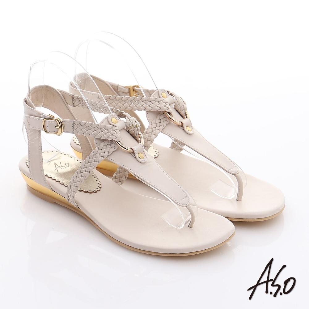 A.S.O 玩美涼夏 真皮編織帶平底涼鞋(米)