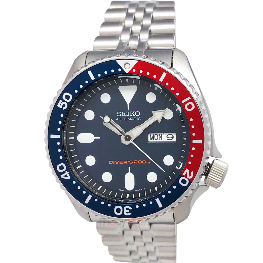 SEIKO SKX009K2 精工表 自動機械錶 200米運動潛水錶 DIVER 鎖牙式錶冠 夜光 紅籃框鋼帶 男錶