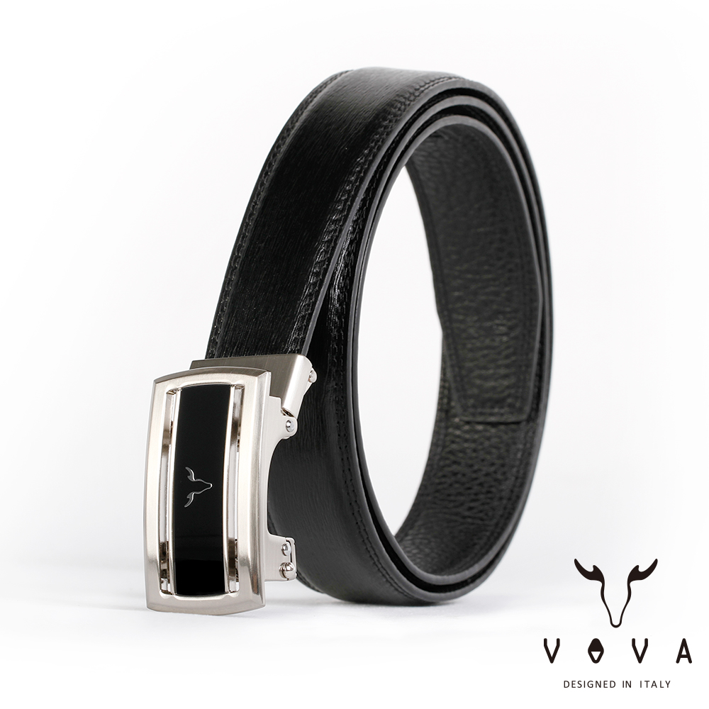 VOVA 商務紳士簡約造型自動扣皮帶(亮銀色)VA004-006-NK