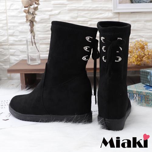 【Miaki】短靴.內增高絨面圓頭靴 (黑色)