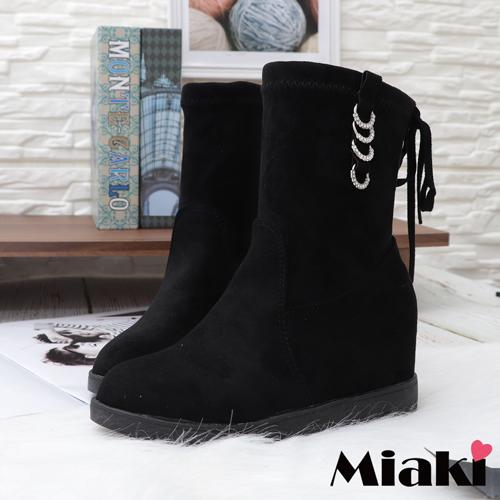【Miaki】短靴.水鑽奢華內增高靴 (黑色)