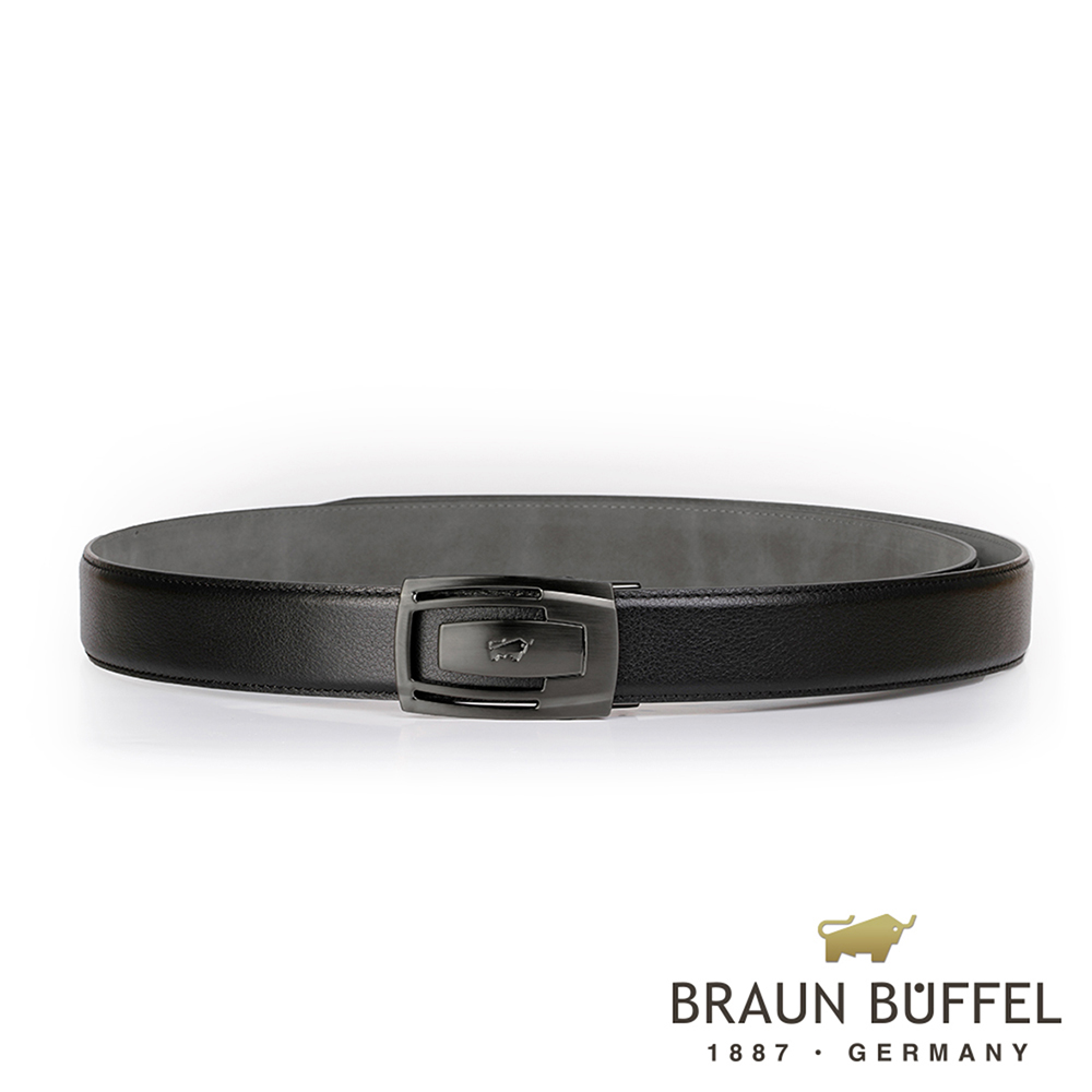 【BRAUN BUFFEL】沉穩內斂紳士自動扣皮帶(鎗色)BF19B-003T-SGU