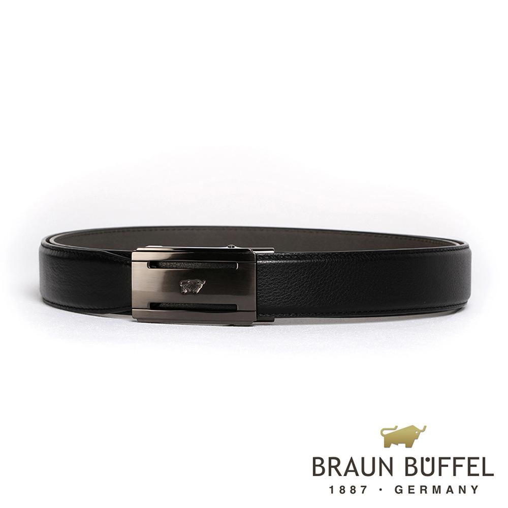 【BRAUN BUFFEL】極致品味紳士自動扣皮帶(鎗色)BF19B-004T-SGU