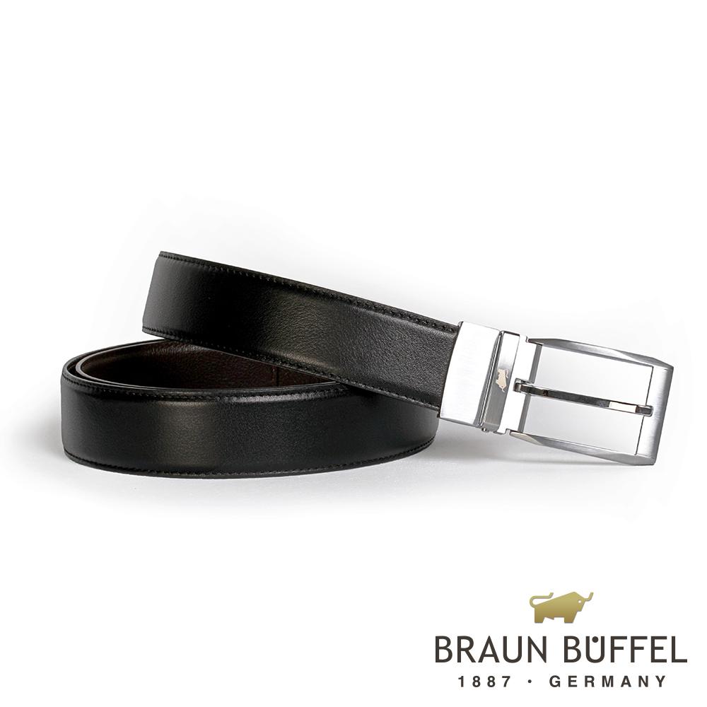 【BRAUN BUFFEL】經典紳士品味穿針式皮帶(銀色)BF19B-006T-SNK