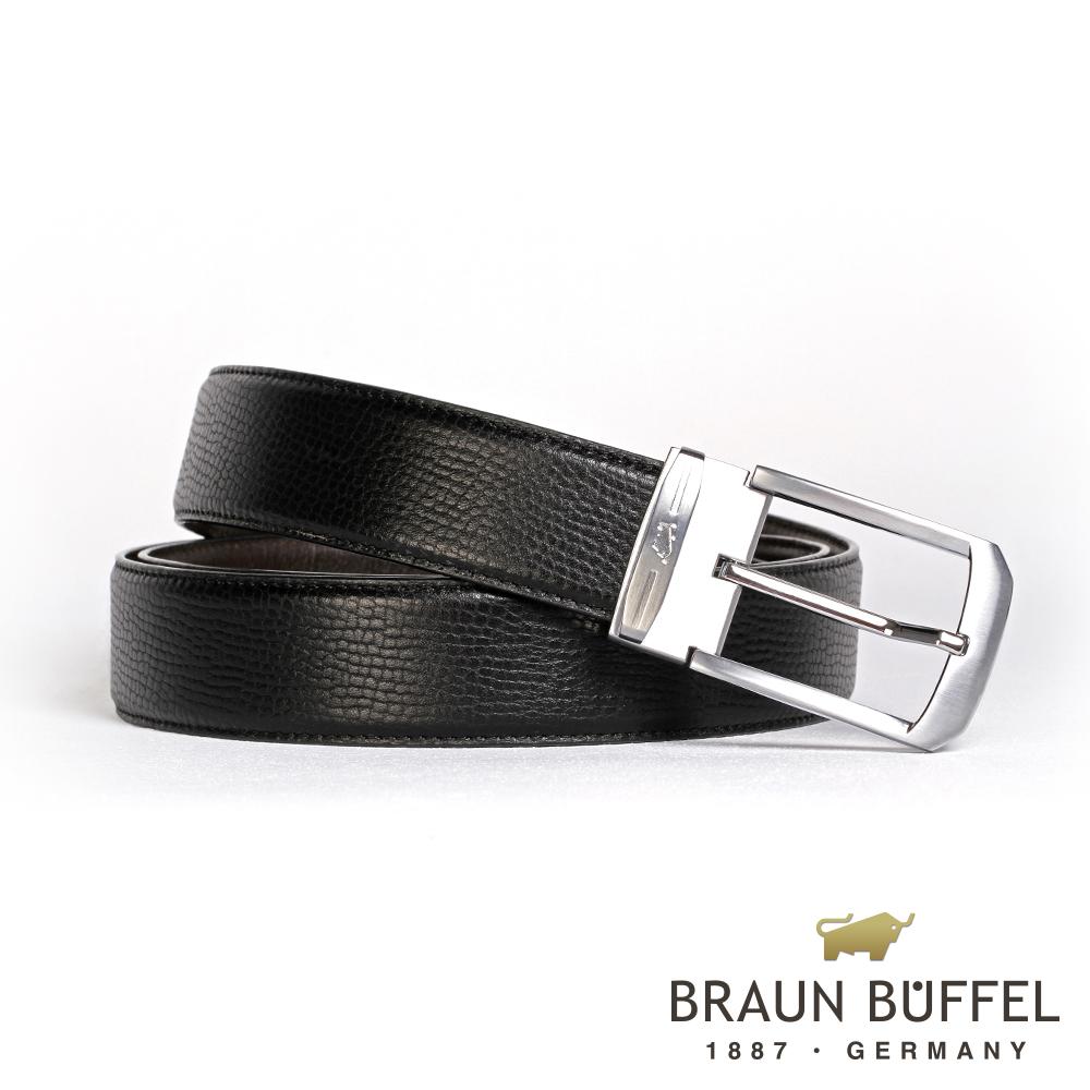 【BRAUN BUFFEL】沉穩紳士品味穿針式皮帶(銀色)BF19B-086T-SNK