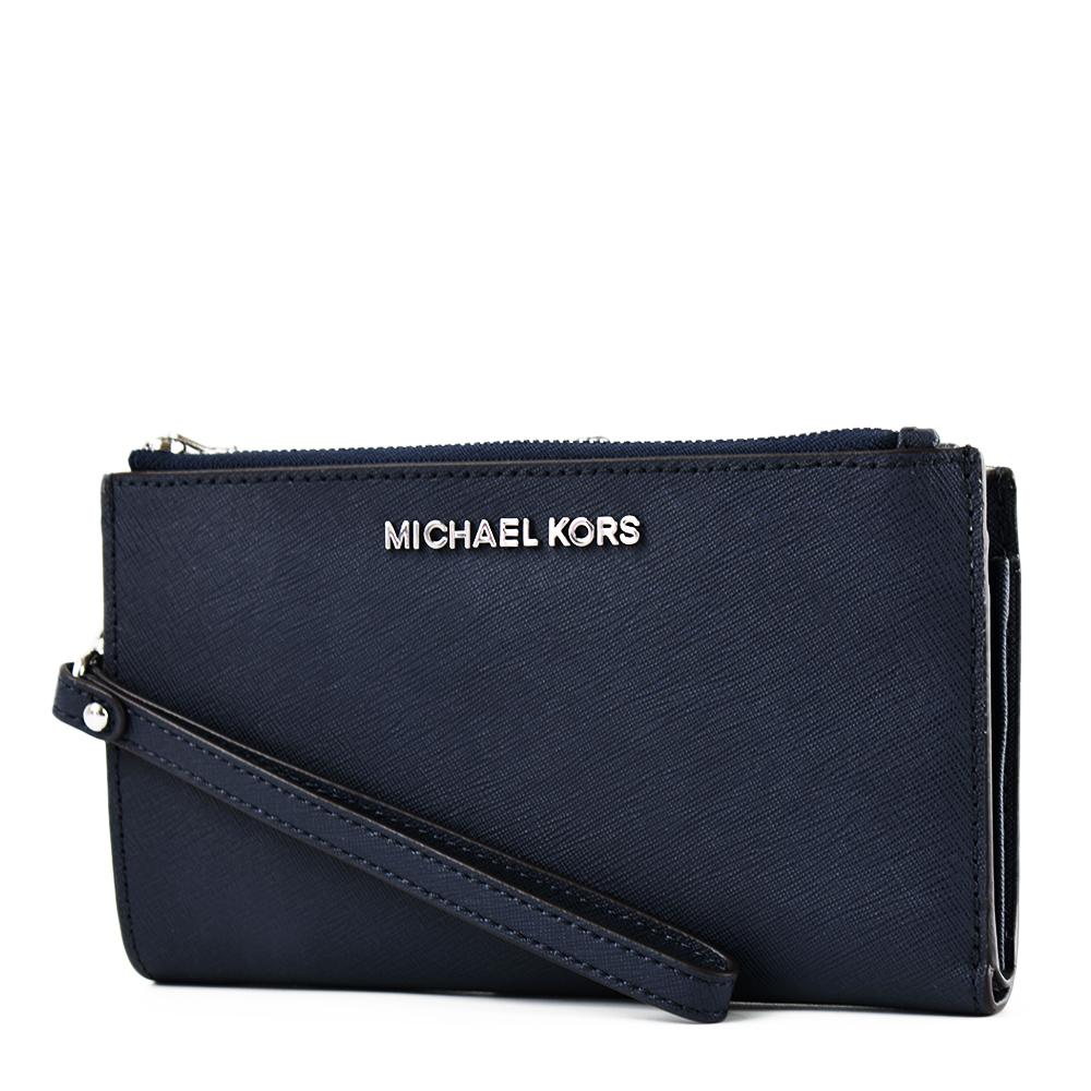 MICHAEL KORS 專櫃款 防刮皮革對折釦式手掛手拿/手機包-海軍藍
