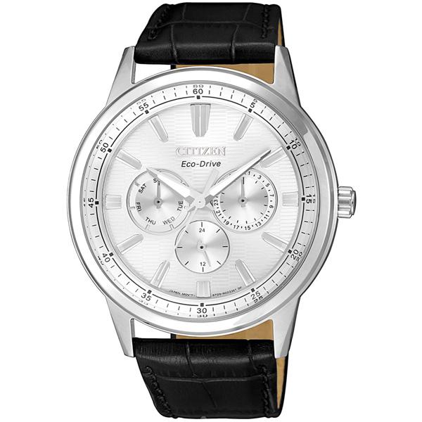 CITIZEN星辰 光動能 經典大錶面三眼手錶BU2071-01A白面