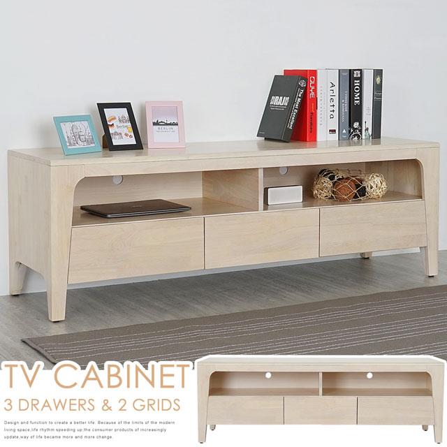 《Homelike》克林實木電視櫃(洗白色)