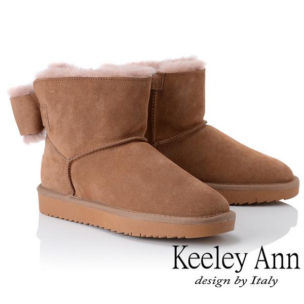 Keeley Ann暖心戀冬~甜美可愛立體蝴蝶結全真皮雪靴(駱駝色877772120-Ann系列)