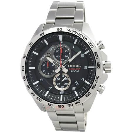 SEIKO精工 三眼競速鋼帶手錶