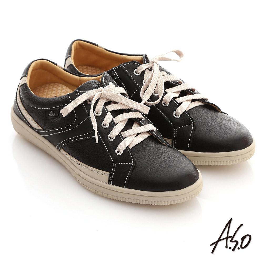 A.S.O 輕量勁步 流線拼色奈米休閒平底鞋(黑)