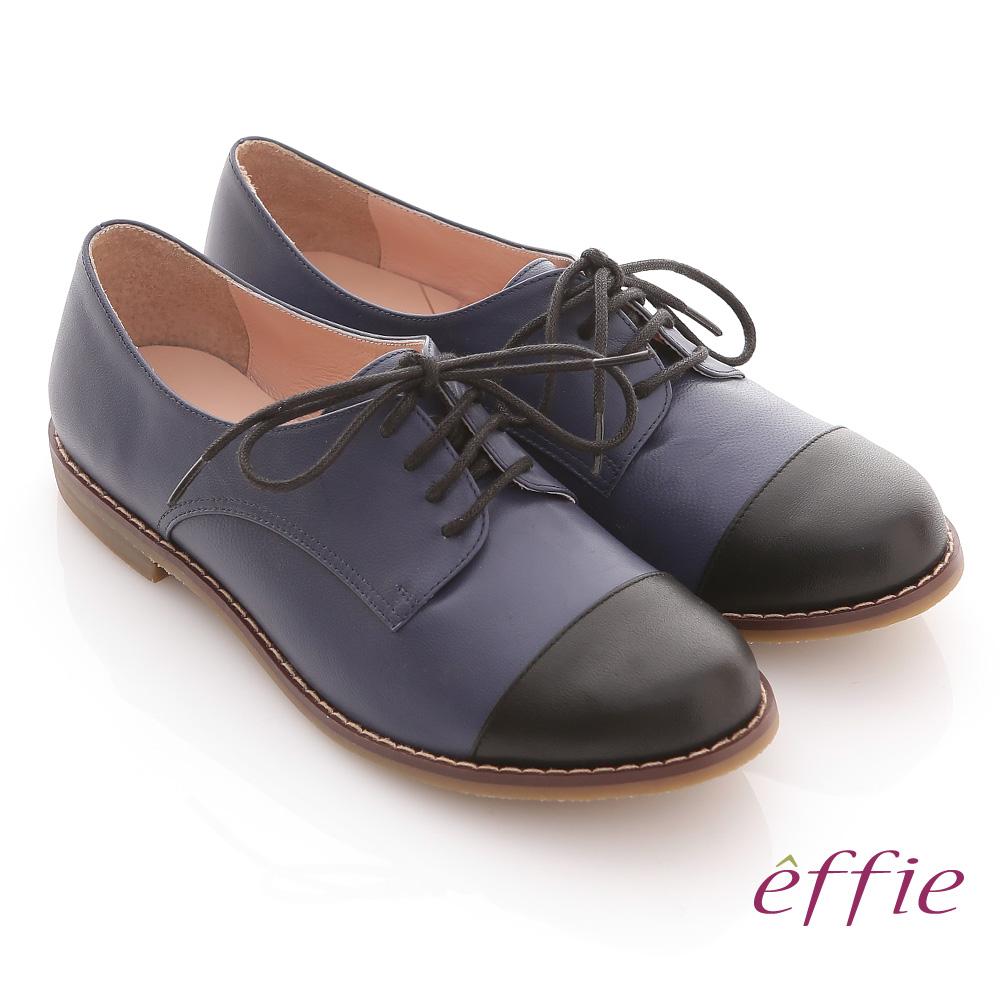 effie 街頭玩味 全真皮雙色拼接牛津鞋(藍)