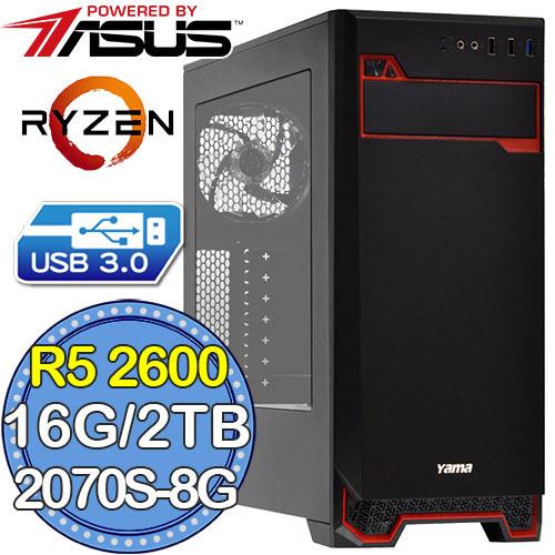 華碩B450平台【嵐月魔武】Ryzen六核 RTX2070-8G獨顯 2TB效能電腦
