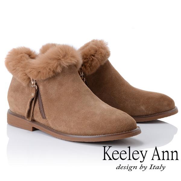 Keeley Ann俏皮甜心~絨毛滾邊側拉鍊短靴(駱駝色877847120-Ann系列)