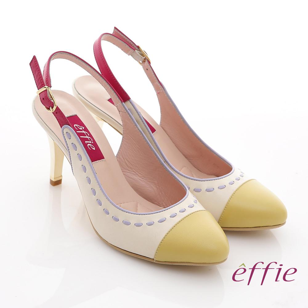 effie 軟芯系列 全真皮雙色拼接車縫線金屬細高跟鞋(正黃)