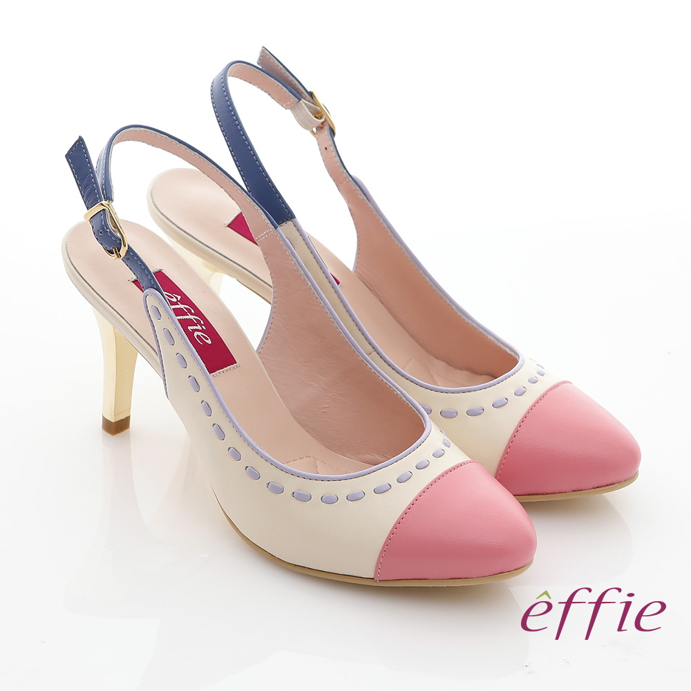 effie 軟芯系列 全真皮雙色拼接車縫線金屬細高跟鞋(粉紅)