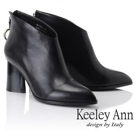 Keeley Ann 斜口腳背粗跟全真皮短靴