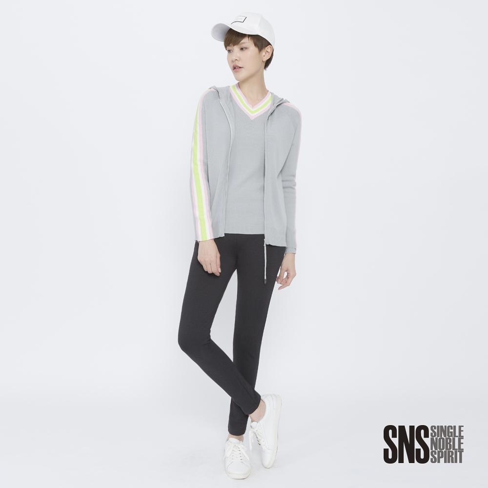 SNS 青春校園彩條抽繩連帽針織外套(2色)