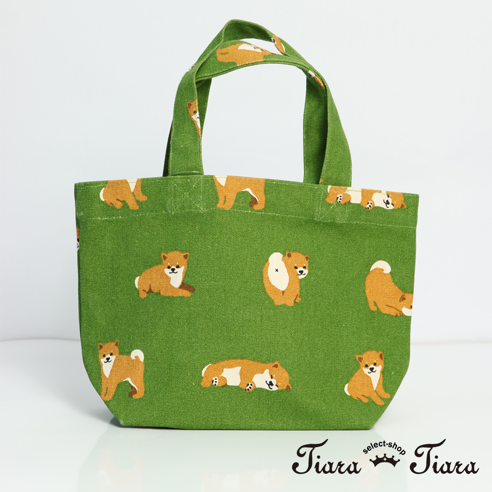 【Tiara Tiara】小小柴犬手提袋 帆布袋(綠)