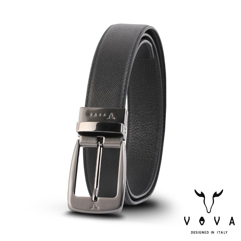 VOVA 休閒紳士穿針式髮絲紋皮帶(鎗色) VA005-001-GU