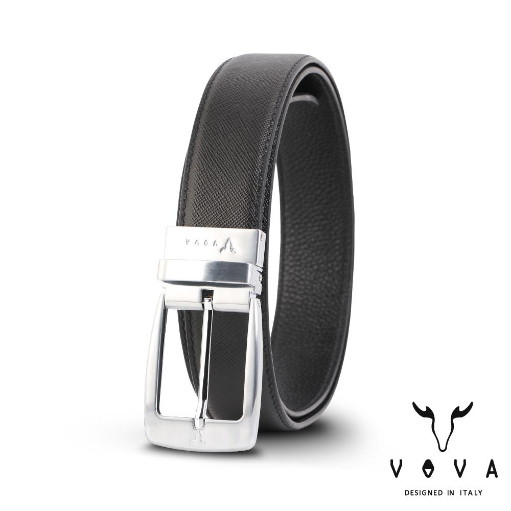 VOVA 休閒紳士穿針式髮絲紋皮帶(銀色) VA005-001-NK