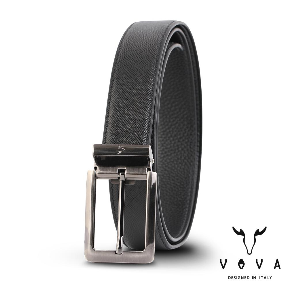 VOVA 休閒紳士穿針式十字紋皮帶(鎗色) VA005-002-GU