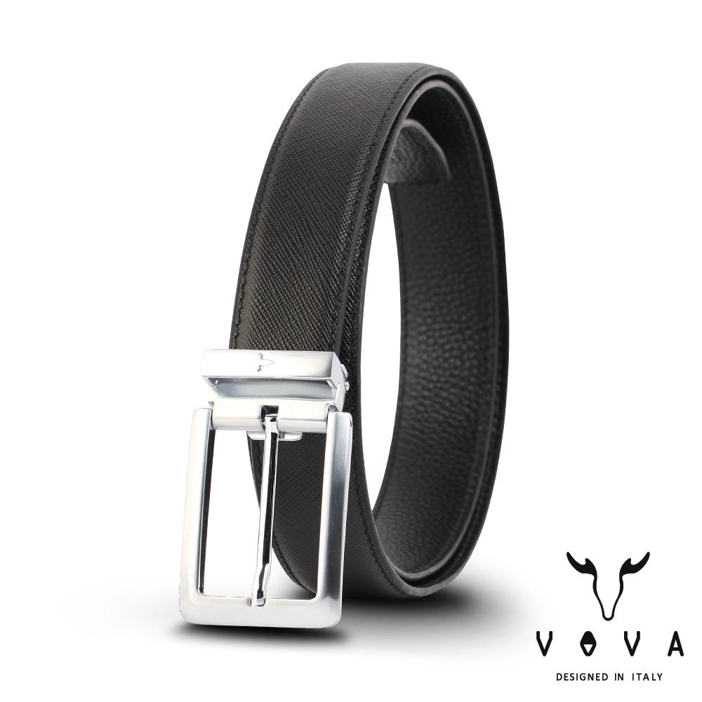 VOVA 休閒紳士穿針式十字紋皮帶(銀色) VA005-002-NK