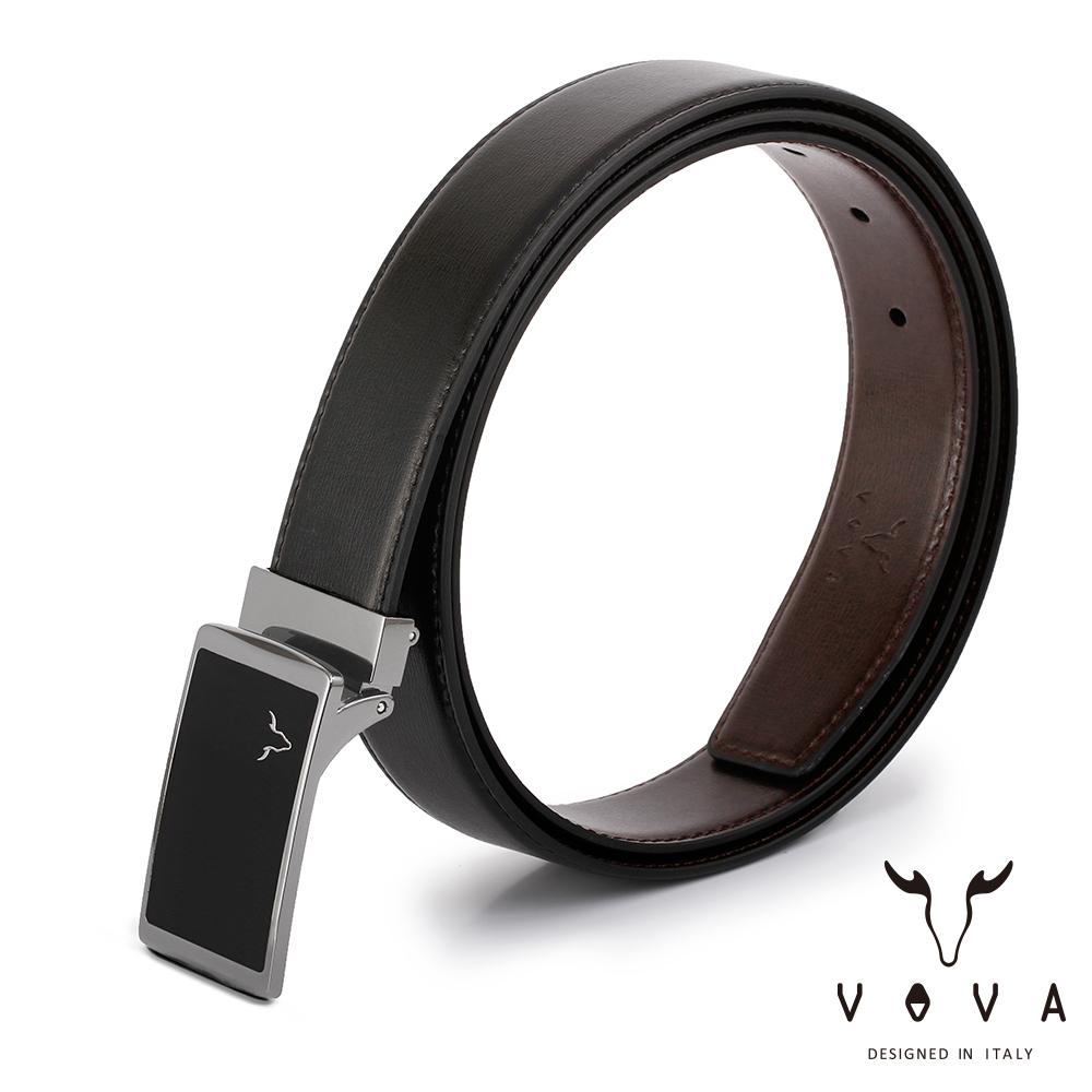 VOVA 休閒紳士琴鍵鏡面素面紋皮帶(銀色) VA005-003-NK