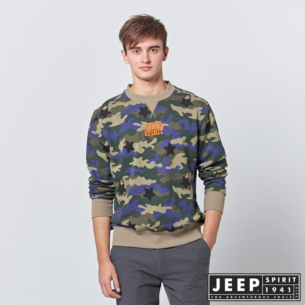 【JEEP】時尚經典林地迷彩長袖圓領TEE (綠)