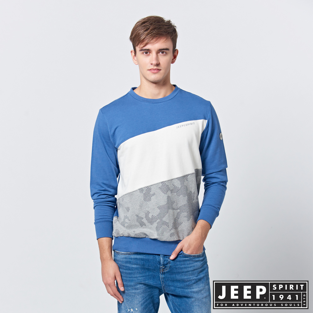 【JEEP】 簡約漸層拼接長袖TEE (藍)
