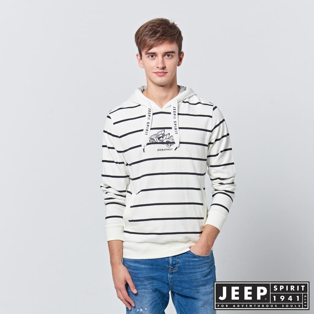 【JEEP】 雙色細條紋長袖連帽TEE (白)