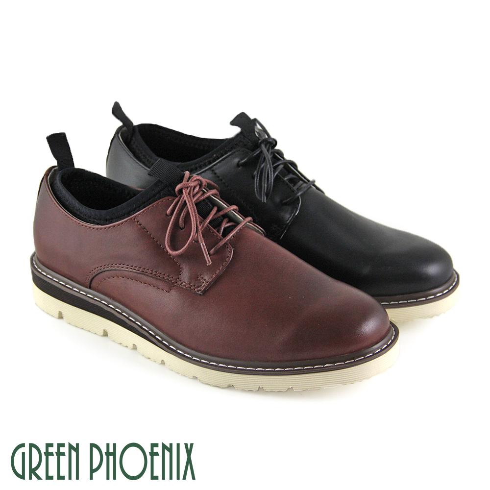 【GREEN PHOENIX】簡約織帶縫線襪套式真皮平底休閒皮鞋(男款)