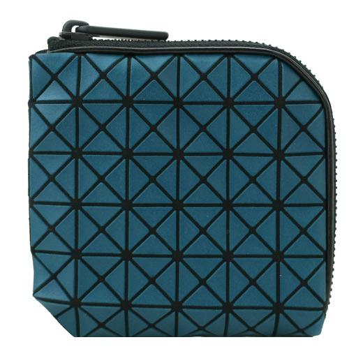 ISSEY MIYAKE三宅一生BAOBAO幾何6x6皮質L型拉鍊零錢包(藍綠)