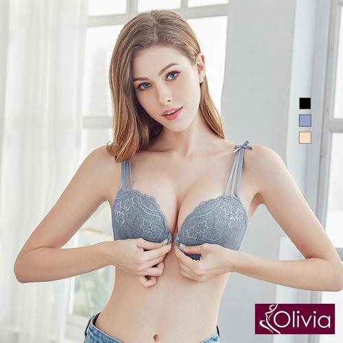 【Olivia】無鋼圈前扣織花蕾絲美背內衣-藍色