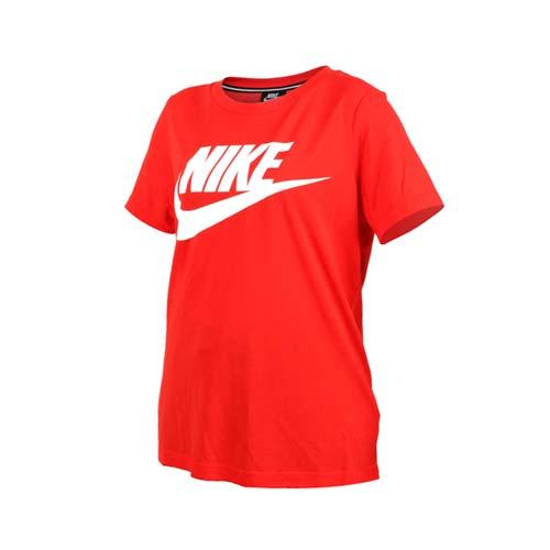 (女) NIKE 短袖圓領T恤-短T 短袖上衣 慢跑 訓練 路跑 橘白