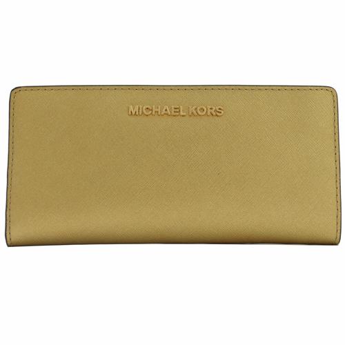 MICHAEL KORS JET SET 金字LOGO對折雙扣式長夾 .金