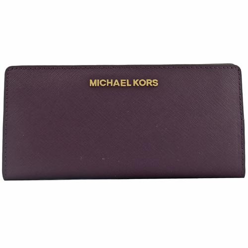 MICHAEL KORS JET SET 金字LOGO雙色對折扣式長夾 .紫