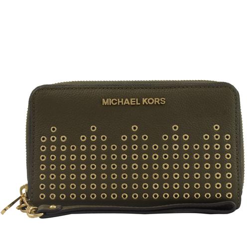 MICHAEL KORS HAYES 金字鉚釘手提式拉鍊中長夾.墨綠